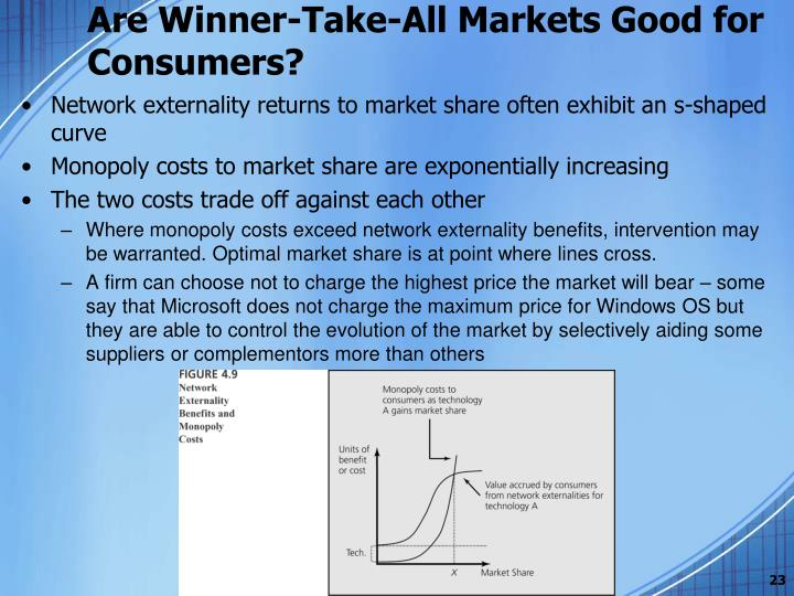 winner take all in networked markets summary Attracted by the prospects of large margins, platforms can try to compete to be the winner-take-all in two-sided markets with strong network effects that means that one platform serves the mature networked market.