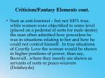 criticism fantasy elements cont