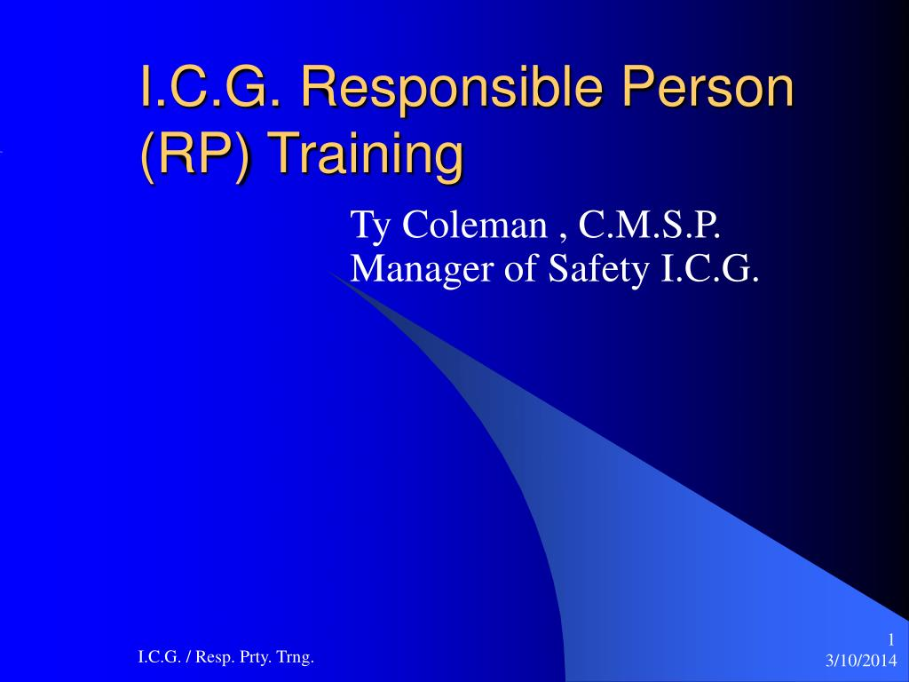 i c g responsible person rp training l.