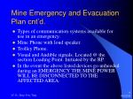mine emergency and evacuation plan cnt d