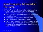 mine emergency evacuation plan cnt d