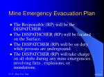 mine emergency evacuation plan