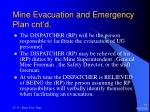mine evacuation and emergency plan cnt d