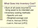 what goes into inventory cost