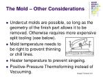 the mold other considerations