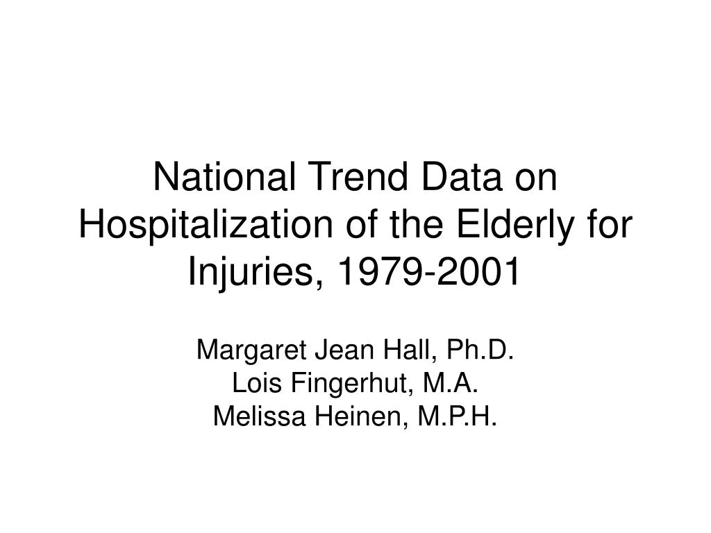 national trend data on hospitalization of the elderly for injuries 1979 2001 l.