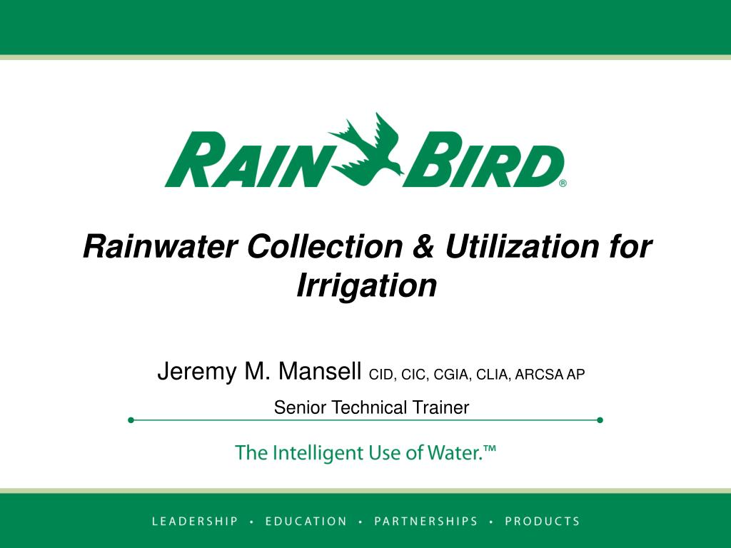 rainwater collection utilization for irrigation l.