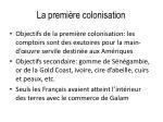 la premi re colonisation