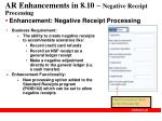 ar enhancements in 8 10 negative receipt processing