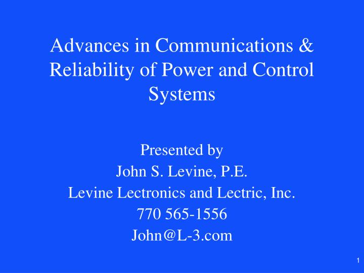 advances in communications reliability of power and control systems n.
