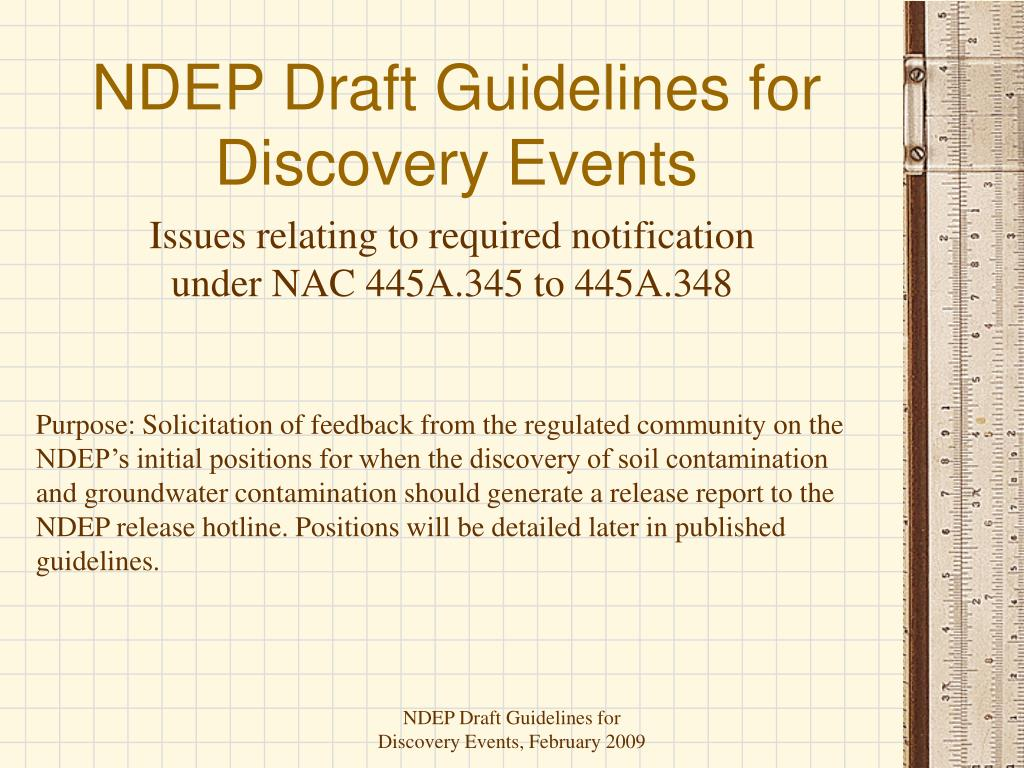 ndep draft guidelines for discovery events l.