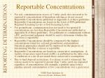 reportable concentrations