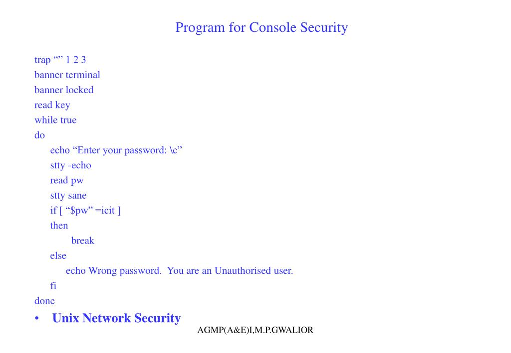 Program for Console Security