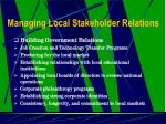 managing local stakeholder relations