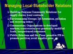 managing local stakeholder relations5