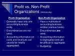 profit vs non profit organizations historically