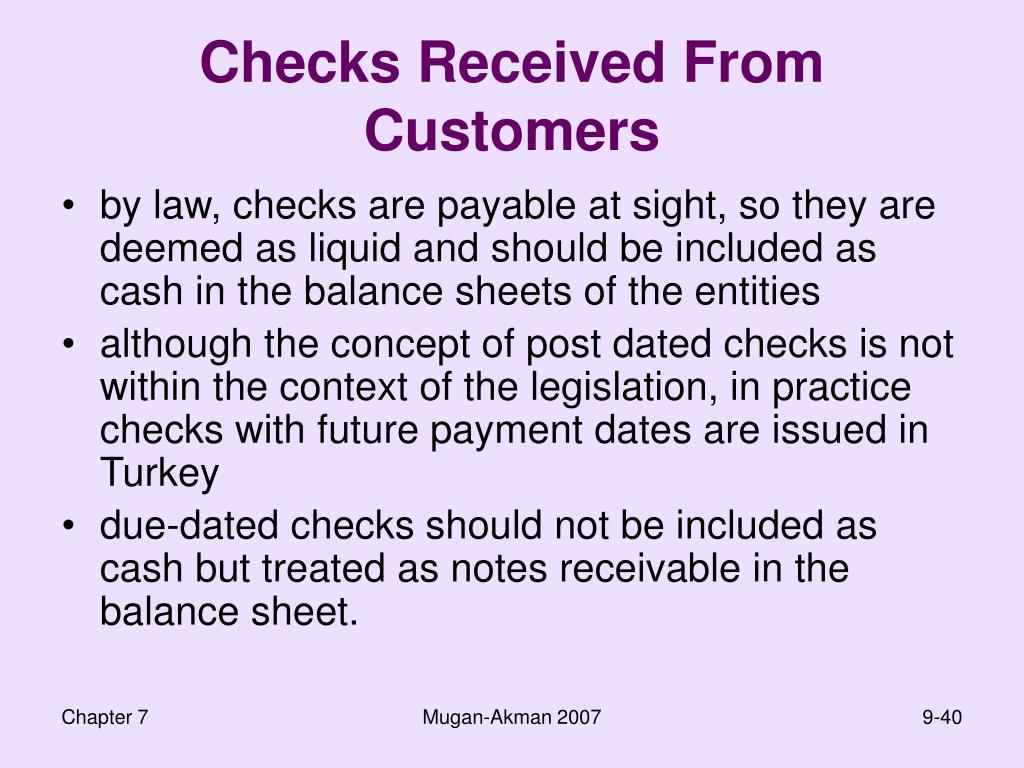 Checks Received From Customers