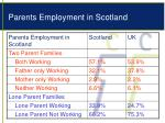 parents employment in scotland