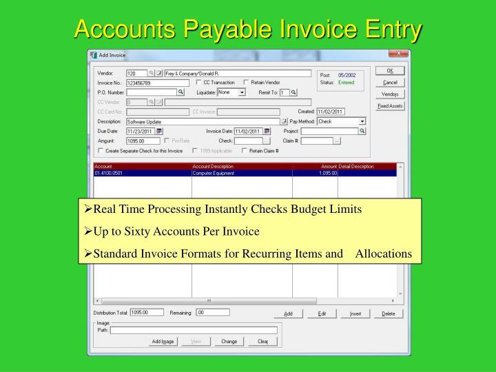Accounts Payable Invoice Entry