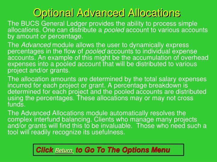 Optional Advanced Allocations