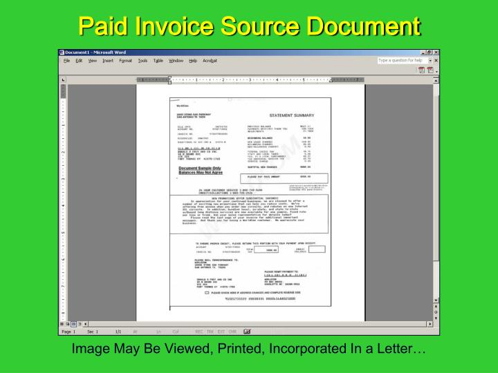 Paid Invoice Source Document