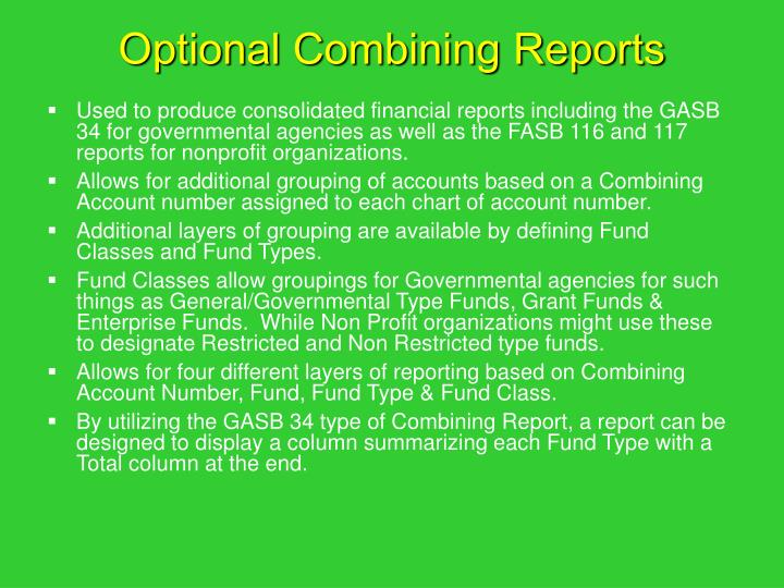 Optional Combining Reports
