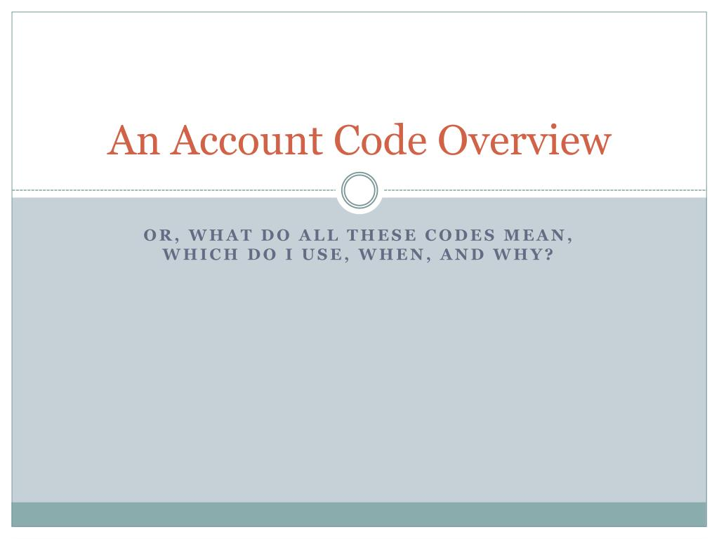 an account code overview l.