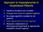 approach to hyperglycemia in hospitalized patients73
