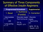 summary of three components of effective insulin regimens