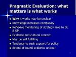 pragmatic evaluation what matters is what works