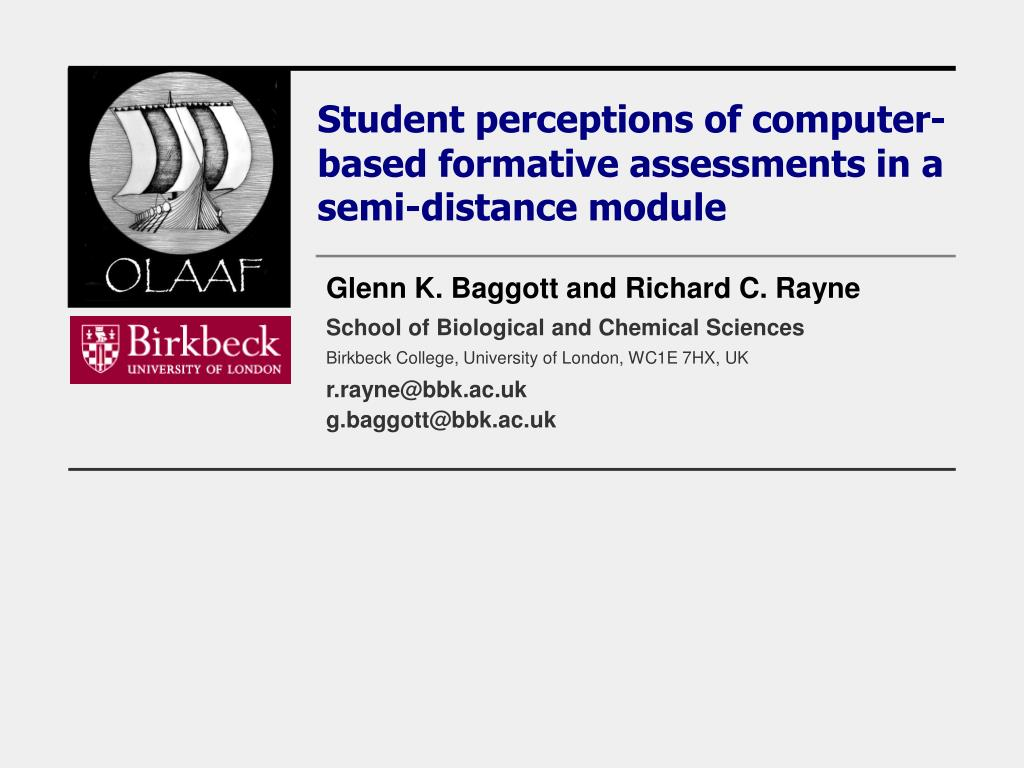 student perceptions of computer based formative assessments in a semi distance module l.