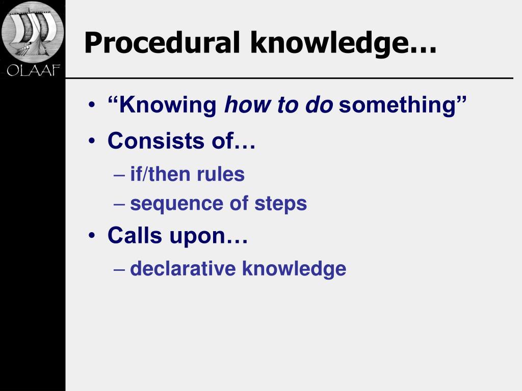 Procedural knowledge…