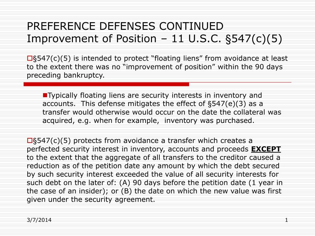 preference defenses continued improvement of position 11 u s c 547 c 5 l.