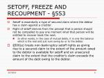 setoff freeze and recoupment 553