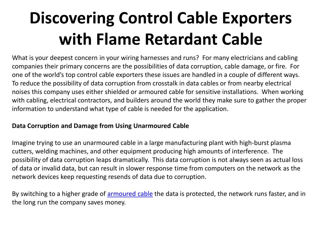 discovering control cable exporters with flame retardant cable l.
