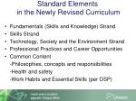standard elements in the newly revised curriculum