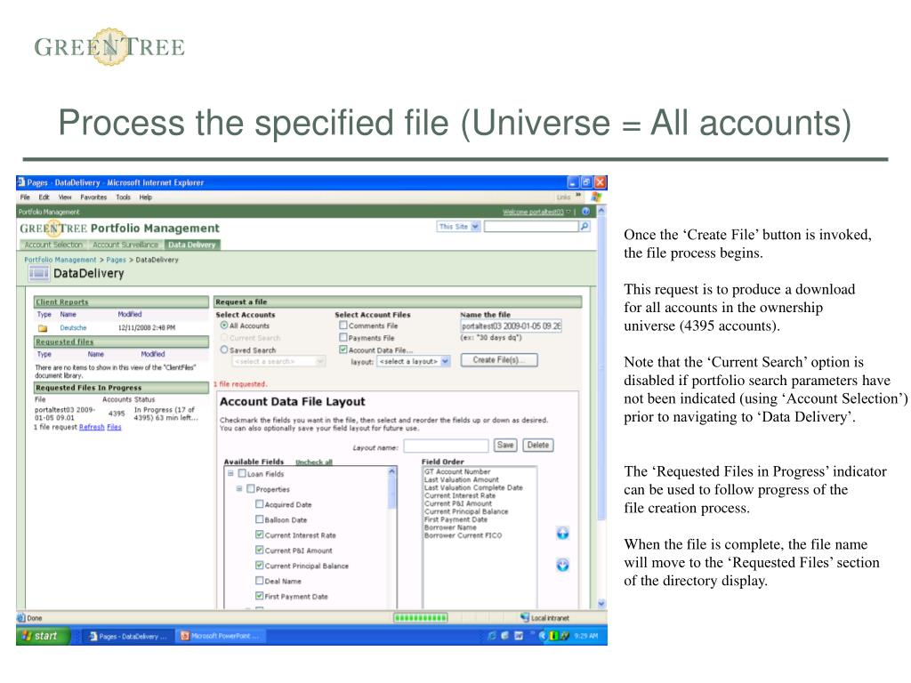 Process the specified file (Universe = All accounts)