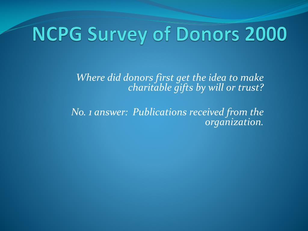NCPG Survey of Donors 2000