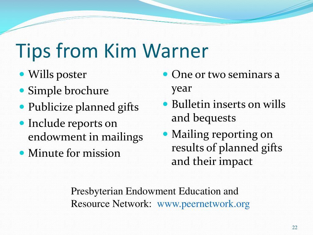 Tips from Kim Warner