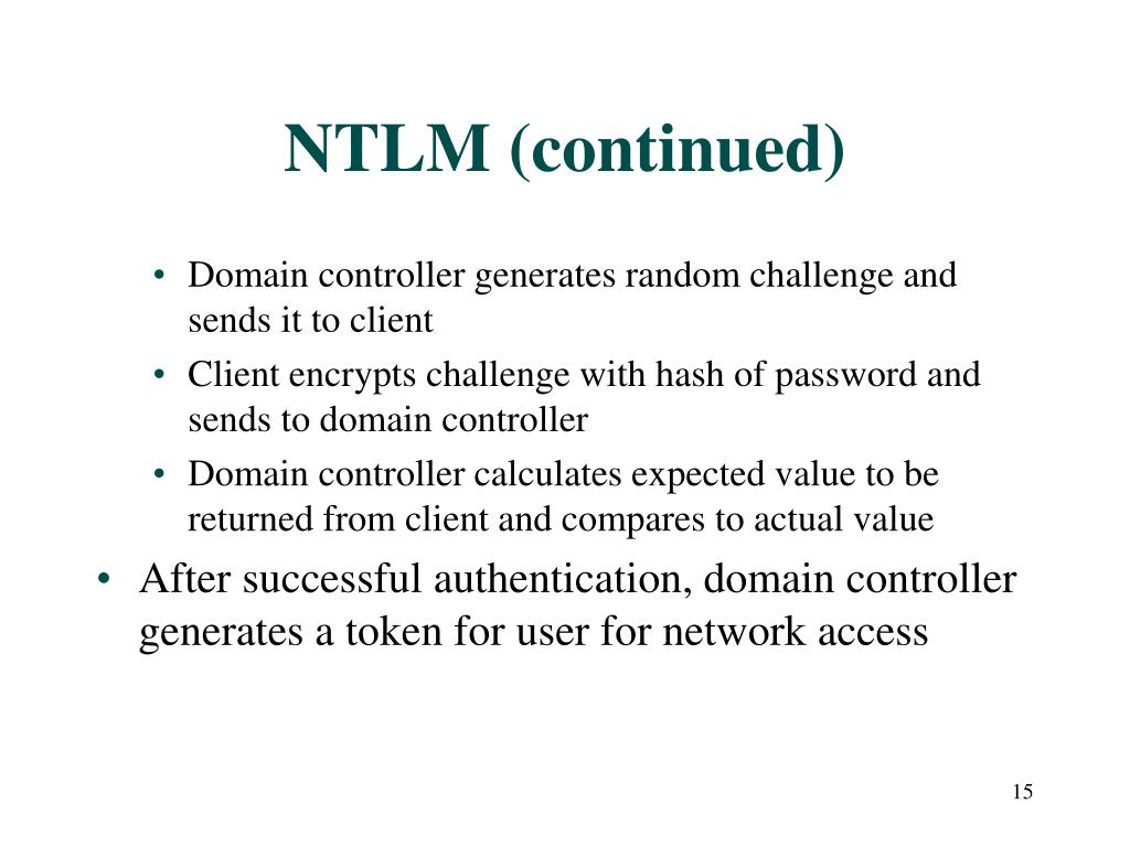 NTLM (continued)