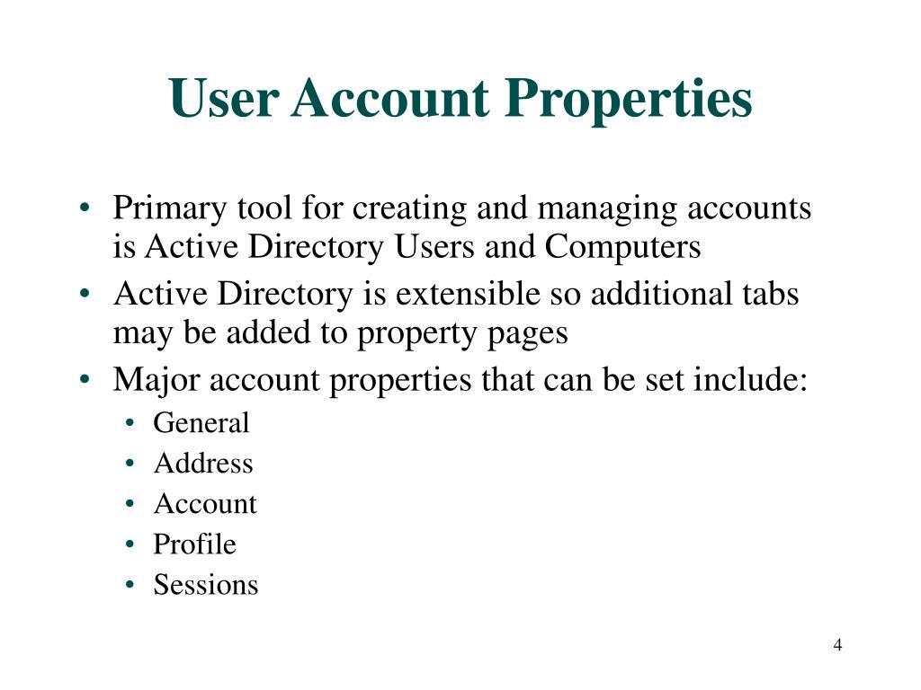 User Account Properties