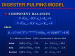 digester pulping model