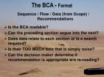 the bca format