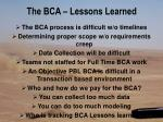 the bca lessons learned