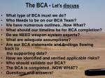 the bca let s discuss