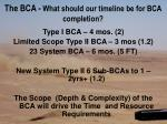 the bca what should our timeline be for bca completion
