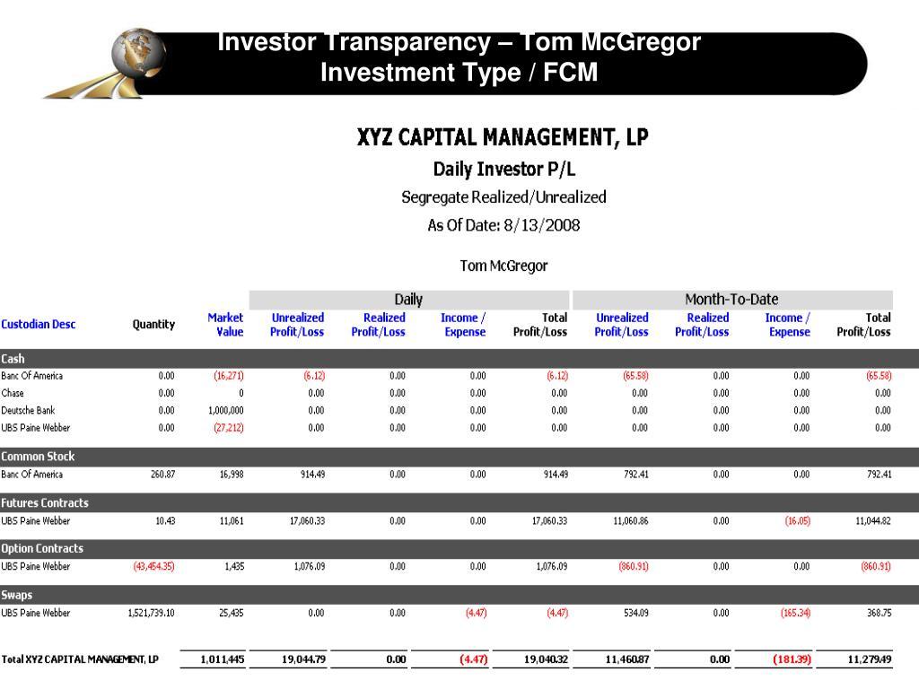 Investor Transparency – Tom McGregor
