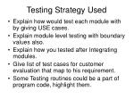 testing strategy used