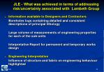 jle what was achieved in terms of addressing risk uncertainty associated with lambeth group