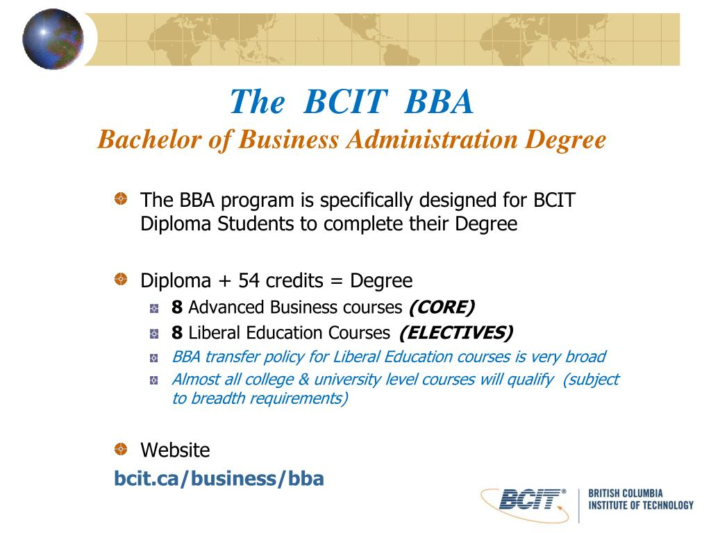 the bcit bba bachelor of business administration degree l.